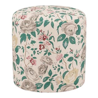 Drum Ottoman in Taupe Chintz For Sale