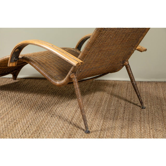 Mid-Century Italian Rattan Lounge Chair For Sale In Los Angeles - Image 6 of 9