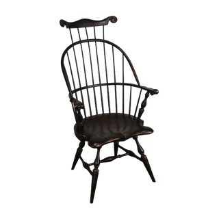 Custom Crafted Distressed Painted Windsor Arm Chair by Ashlen For Sale