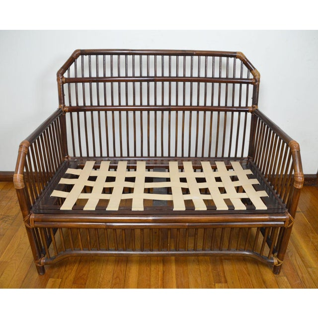 Wood 1980s Vintage Rattan Settee in the Manner of Willow and Reed For Sale - Image 7 of 13