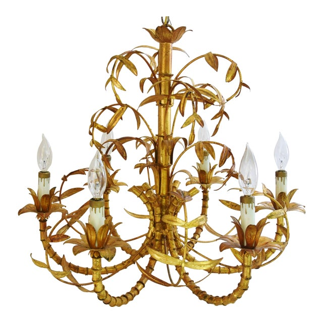 Vintage Italian Six-Arm/Light Gold Gilt Bamboo Tole Chandelier - Image 1 of 11