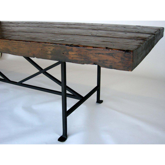 HighEnd Reclaimed Wood Dining Table With Hand Forged Iron Base DECASO - Reclaimed wood and iron dining table