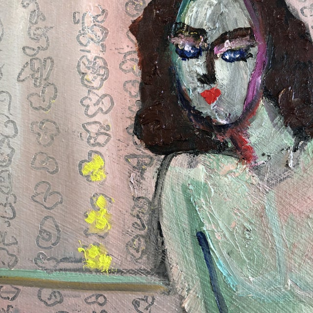 Modern Figure on Bench Painting by Jj Justice For Sale - Image 4 of 12