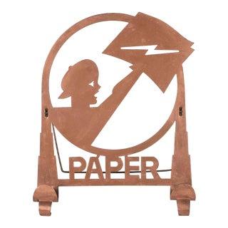 American Art Deco Machine Age Copper Paper Holder Depicting a Newsboy