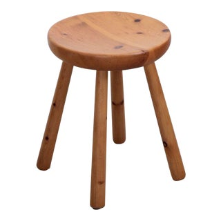 Charlotte Perriand Les Arcs Stool in Pine, circa 1965 For Sale