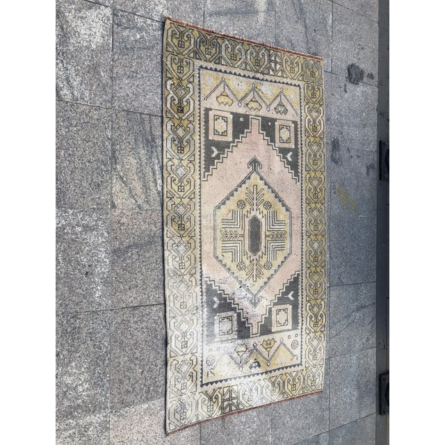 Wood Turkish Oushak Pastel Handwoven Floor Rug - 3′1″ × 5′10″ For Sale - Image 7 of 11