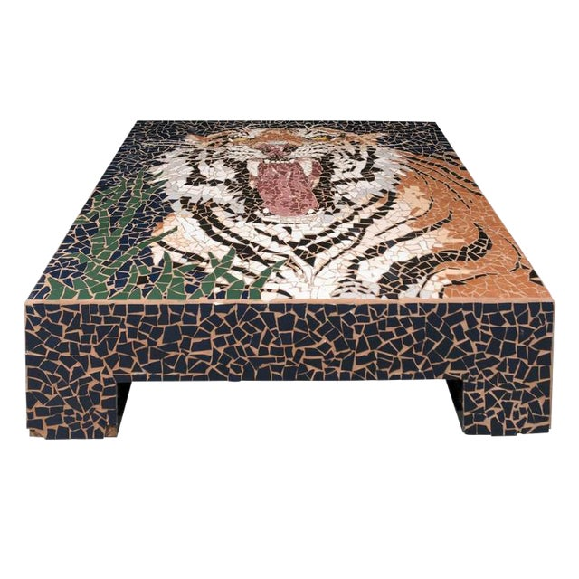 Large Mosaic Tiger Coffee Table For Sale