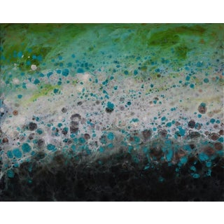 "Marie Danielle Leblanc ""Spiez"" Abstract Waterscape, Blue, Green, White, Yellow, Mixed Media Hi-Gloss Painting on Wood Panel For Sale"