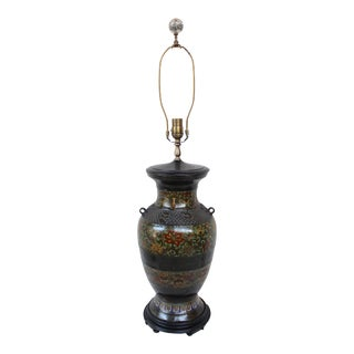 Large Champleve Enameled Urn Lamp
