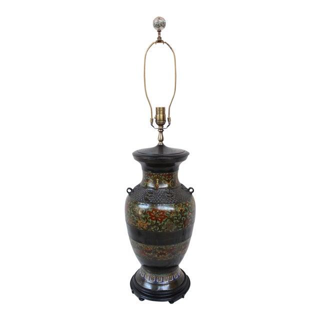 Large Champleve Enameled Urn Lamp - Image 1 of 7