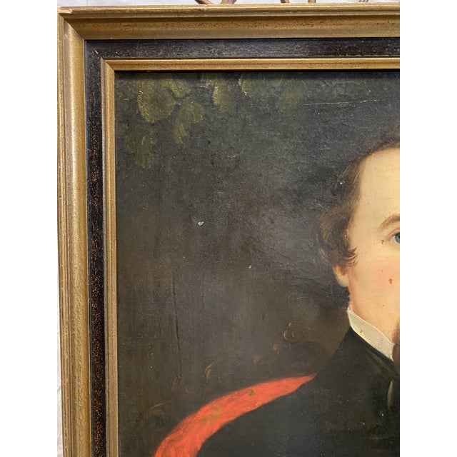 Portraiture Antique Late 19th C. Oil on Board Framed Portrait of a Handsome Man For Sale - Image 3 of 8