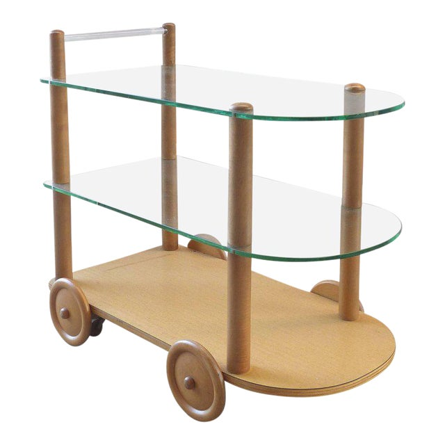 1940s Oak and Glass Two-Tier Bar Cart by Gilbert Rohde For Sale