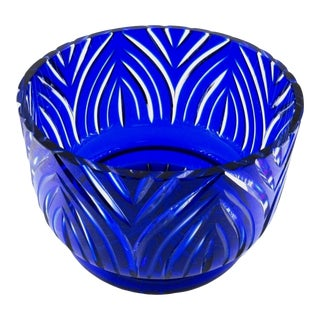 Cut to Clear Cobalt Blue Crystal Serving Bowl For Sale