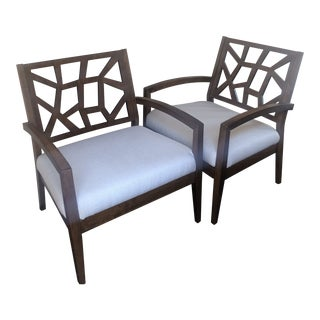 Modern Wood Cutout & Ivory Linen Armchairs- A Pair For Sale