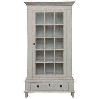 Antique Swedish Gustavian Style Painted Glass Door Cabinet, Mid-19th Century For Sale