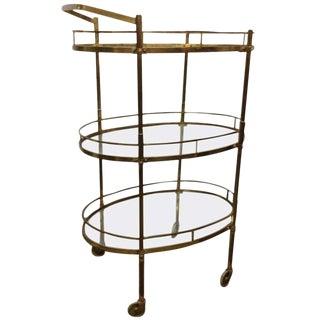 Brass Three-Tier Bar Cart For Sale