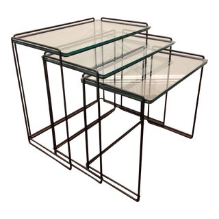 "1960s Mid Century Modern Minimalist Nesting Tables by Max Sauze ""isocele"" For Sale"