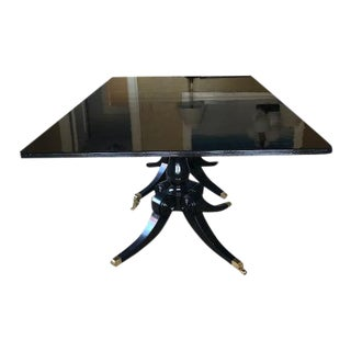 Custom Made Black Lacquer Pedestal Dining Table For Sale