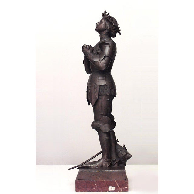 French Patinated Metal Joan of Arc Figure by Mercie For Sale - Image 4 of 4