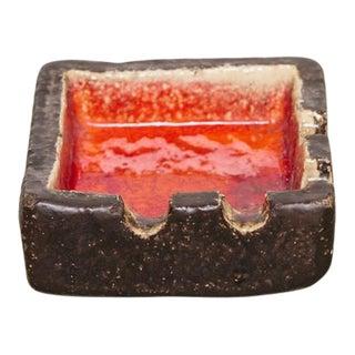 Red & Brown Ceramic Ashtray