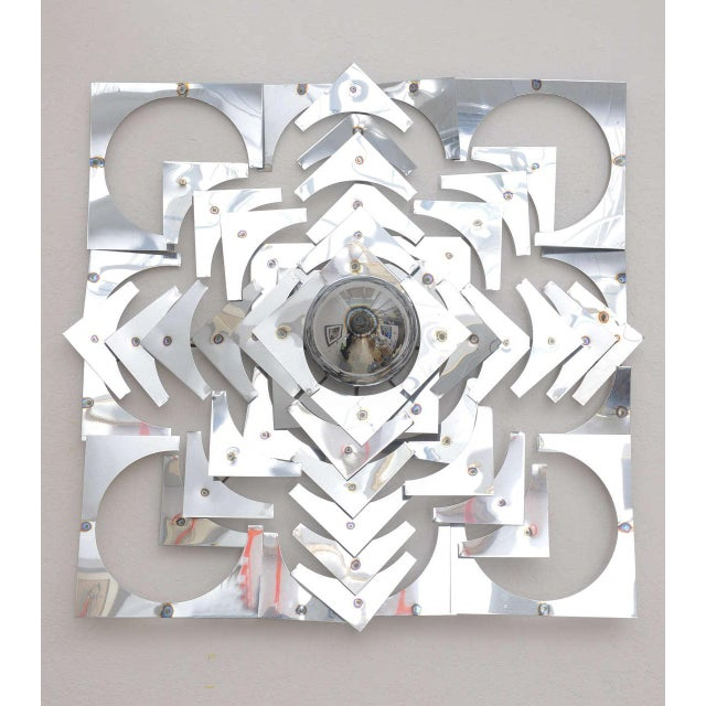 Silver 1970s, Mid-Century Modern, Pop Art, Polished Chrome, Square, 3-D Wall Sculpture For Sale - Image 8 of 11