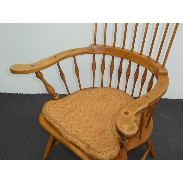 Wood Jean of Topanga Vintage High Banister Windsor Chair Farmhouse Chic For Sale - Image 7 of 11
