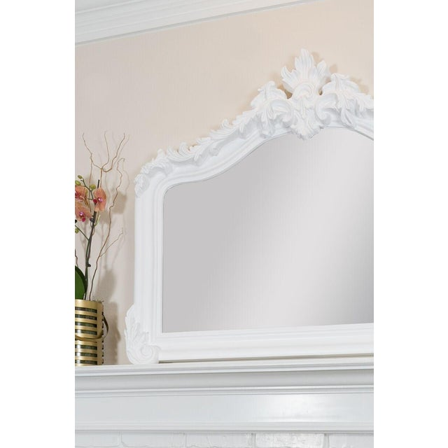 French Country Blenheim French Traditional White Solid Wood Mantle Mirror For Sale - Image 3 of 4