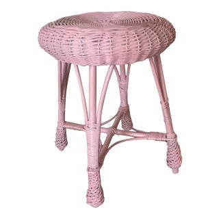 Vintage Painted Pink Wicker Stool or Plant Stand