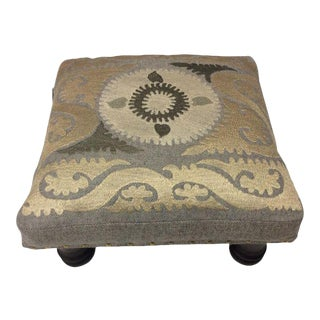 Suzani Embroidered Wood Footstool