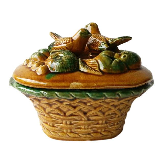 1950s Vintage Majolica Birds Tureen For Sale