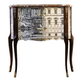 1950s Fornasetti Style Louis XV Chest With Marble Top and Design of Rome For Sale