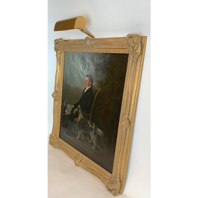 Brown 19th Century Portrait of a Distinguished Gentleman with Dog Oil Painting, Framed For Sale - Image 8 of 13