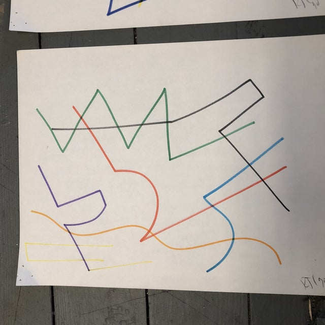 Original Robert Cooke Colored Marker Abstract Drawings Set 4 For Sale In Philadelphia - Image 6 of 9