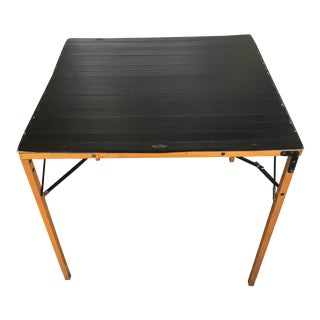1950s Mid Century Modern Gold Medal Furniture Leather Military Folding Card Game Table For Sale