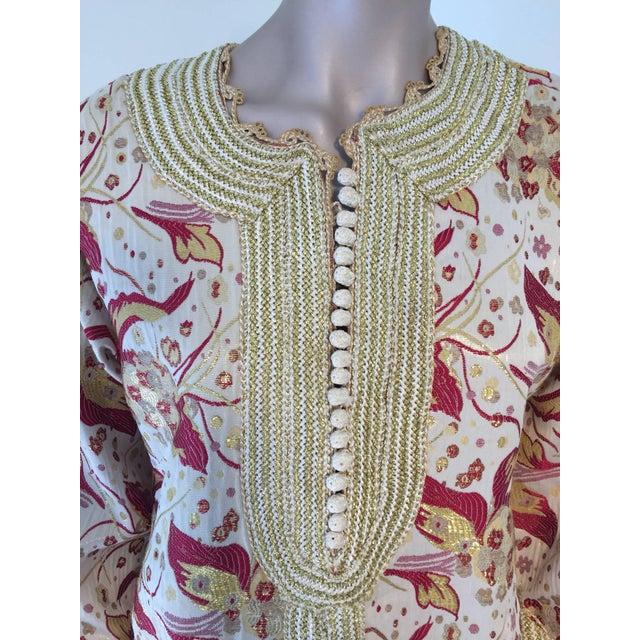 Islamic 1970s Metallic Brocade Moroccan Caftan, Kaftan Maxi Dress For Sale - Image 3 of 10