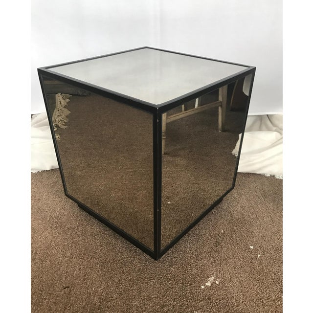 Ralph Lauren Style Antiqued Glass Cube Side Table - Image 6 of 7