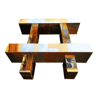 Paul Evans Cityscape Table in Chrome & Brass For Sale
