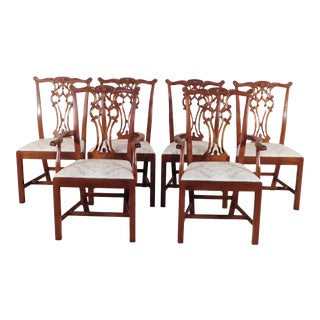 1990s Vintage Hickory Chair James River Collection Chippendale Mahogany Dining Chairs - Set of 6 For Sale