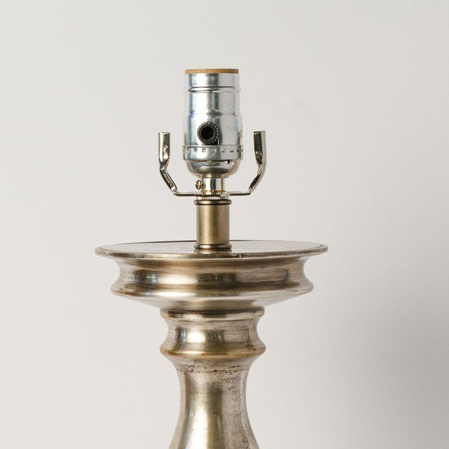Baroque Antique Nickel Lamp For Sale - Image 3 of 7