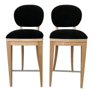 Contemporary Honey Maple & Black Suede Swivel Bar Stools by Berman Rosetti- a Pair For Sale