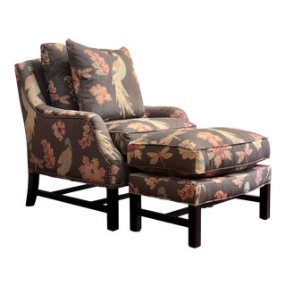 """Modern Norwalk """"Asher"""" Down Filled Custom Embroidered Satin Fabric Chair & Ottoman For Sale"""