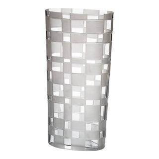 Carlo Moretti Milleriquadri Murano Mouthblown Clear Glass Vase For Sale