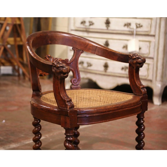 Late 19th Century 19th Century French Louis XIII Carved Oak Barley Twist and Caning Desk Armchair For Sale - Image 5 of 12