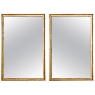 Pair of Italian Neoclassical Giltwood Wall Mirrors For Sale
