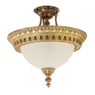 Palace Theater Semi Flush Mount Cast Bronze & Glass Light For Sale