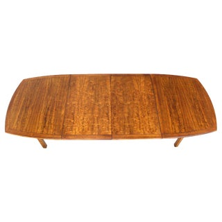 Baker Mid-Century Modern Dining Table with Two Leaves Oval Boat Shape For Sale