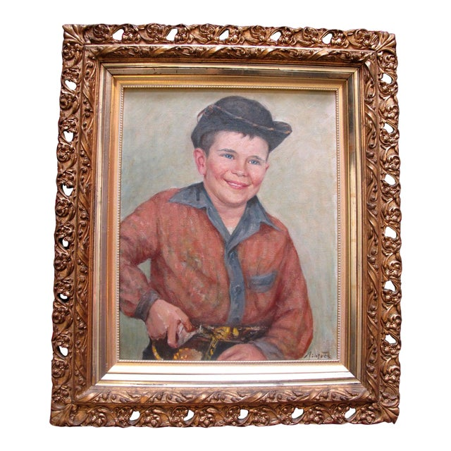 Early 20th Century Frank Ashford Signed Oil Painting, Portrait of Young Man in Cowboy Outfit For Sale