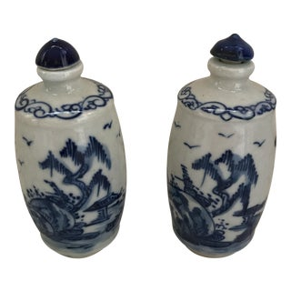 Chinese Blue & White Porcelain Painted Landscape Bottles - A Pair For Sale