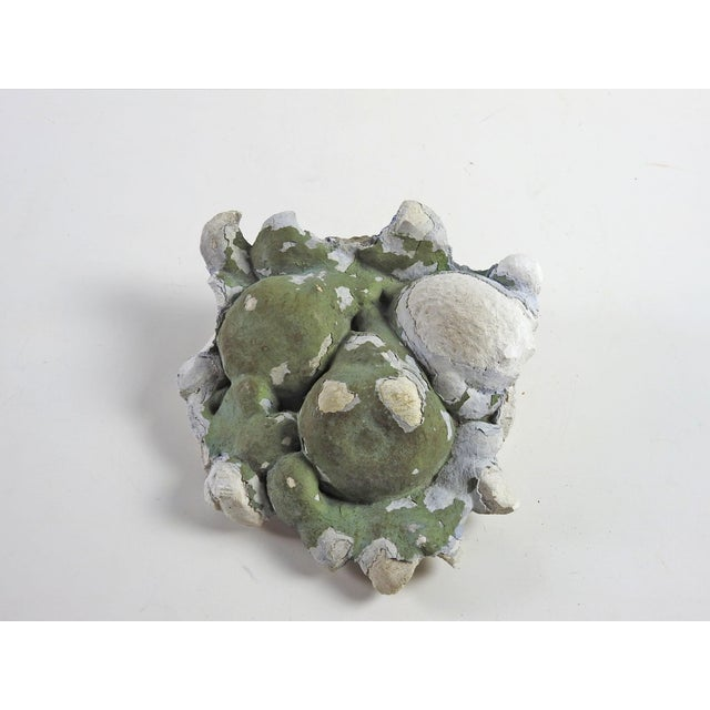 Antique plaster architectural fragment of fruit. Remnants of gray green paint.