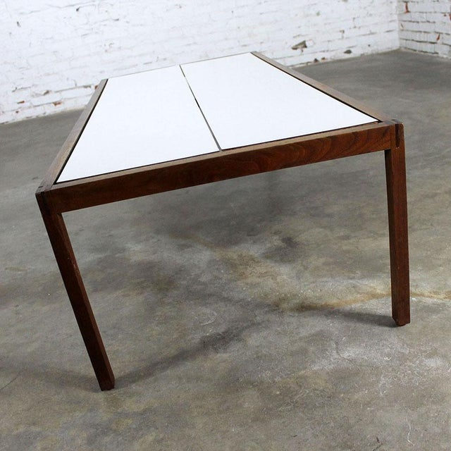 Knoll Lewis Butler for Knoll Walnut & White Laminate Coffee Table For Sale - Image 4 of 11